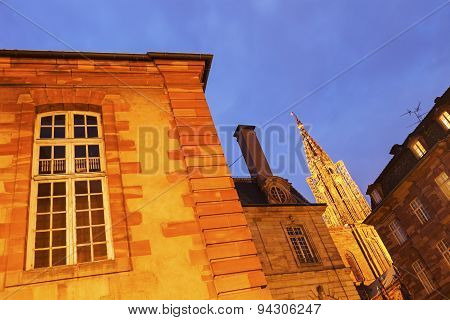 Old Town Architecture With Strasbourg Minster