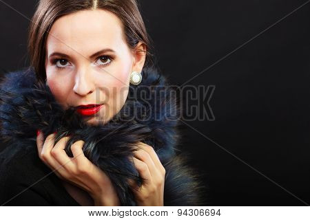 Fashion Woman In Fur Coat, Lady Portrait