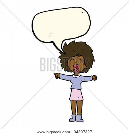 cartoon stressed out woman talking with speech bubble