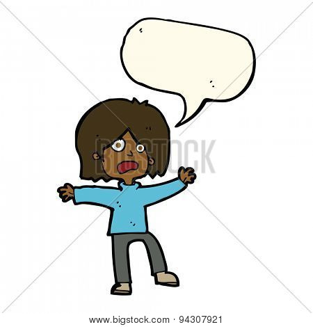cartoon scared person with speech bubble