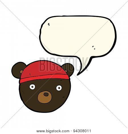 cartoon black bear cub wearing hat with speech bubble