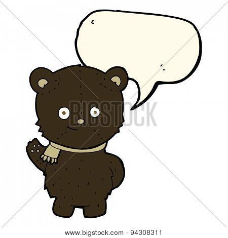 cute cartoon black bear waving with speech bubble