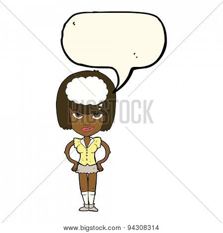 cartoon woman thinking with speech bubble