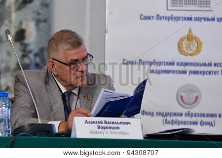 ST. PETERSBURG, RUSSIA - JUNE 22, 2015: Deputy of Legislative Assembly of St. Petersburg, professor Alexey Vorontsov during the St. Petersburg scientific forum