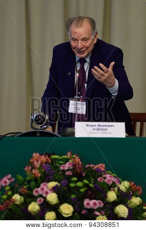 ST. PETERSBURG, RUSSIA - JUNE 22, 2015: Nobel Prize Laureate in physics Zhores Alferov during Saint Petersburg scientific forum