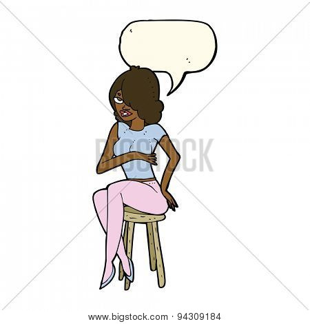 cartoon woman sitting on bar stool with speech bubble