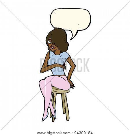 cartoon woman sitting on bar stool with speech bubble