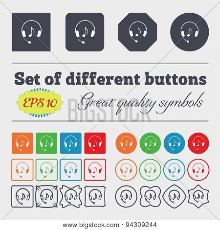 Headsets Icon Sign. Big Set Of Colorful, Diverse, High-quality Buttons. Vector