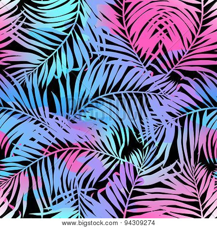 Tropical Palms Seamless Pattern In Colours