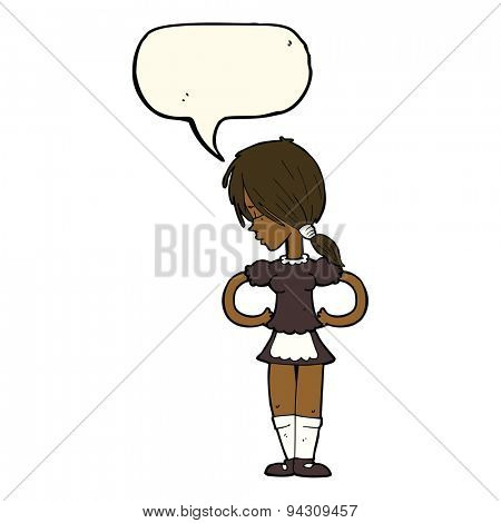 cartoon waitress with speech bubble