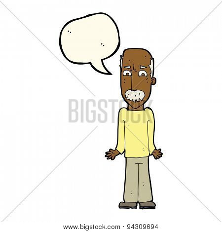cartoon dad shrugging shoulders with speech bubble