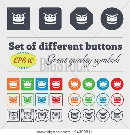 Drum Icon Sign. Big Set Of Colorful, Diverse, High-quality Buttons. Vector
