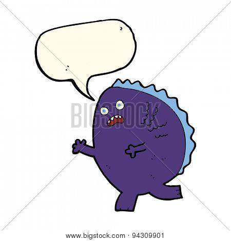 cartoon monster with speech bubble