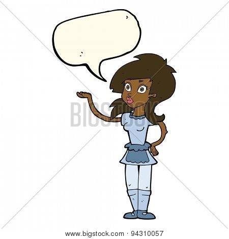 cartoon pretty waitress with speech bubble