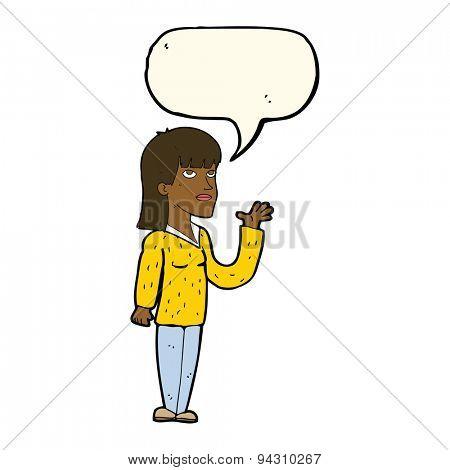 cartoon woman explaining with speech bubble