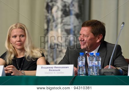ST. PETERSBURG, RUSSIA - JUNE 22, 2015: Rector of ITMO University Vladimir Vasilyev during the Saint Petersburg scientific forum