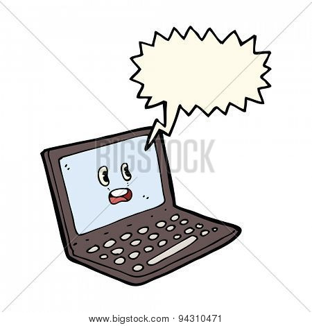 cartoon laptop computer with speech bubble