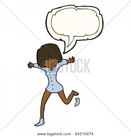 cartoon woman kicking off sock with speech bubble