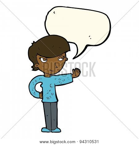 cartoon woman waving with speech bubble