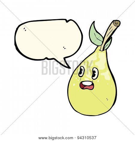 cartoon pear with speech bubble