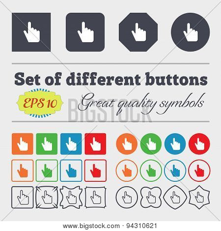 Cursor Icon Sign. Big Set Of Colorful, Diverse, High-quality Buttons. Vector