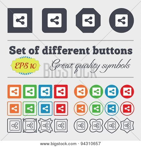 Share  Icon Sign. Big Set Of Colorful, Diverse, High-quality Buttons. Vector
