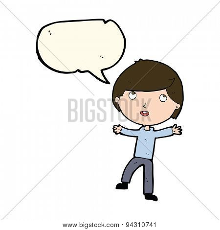 cartoon happy boy with speech bubble