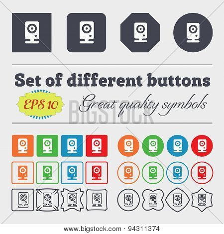 Web Cam Icon Sign. Big Set Of Colorful, Diverse, High-quality Buttons. Vector
