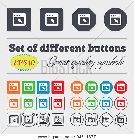 The Dialog Box Icon Sign. Big Set Of Colorful, Diverse, High-quality Buttons. Vector