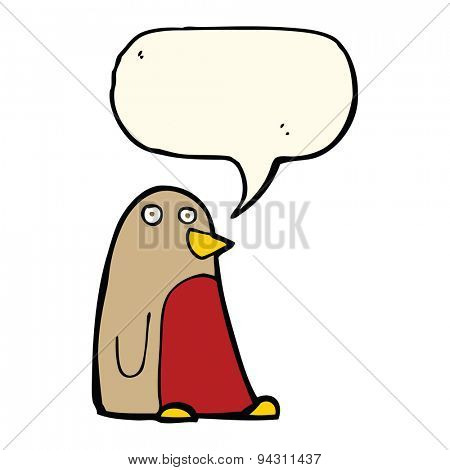 cartoon robin with speech bubble