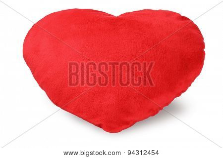 Love Heart Cushion on White Background