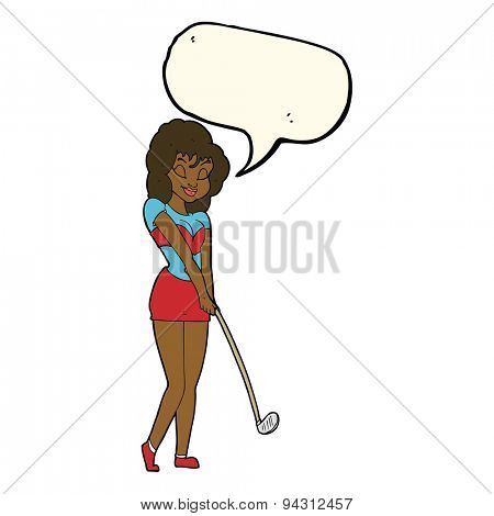 cartoon woman playing golf with speech bubble