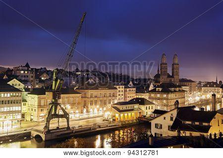 Grossmünster And Zurich Evening Panorama