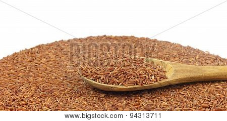 Spoon Of Brown Rice On Heap Of  Rice