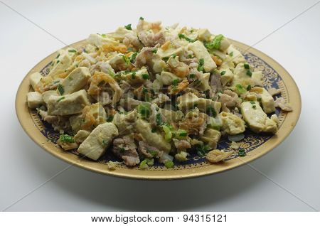 Stir fried tofu, bean curd with pork and dried shrimp