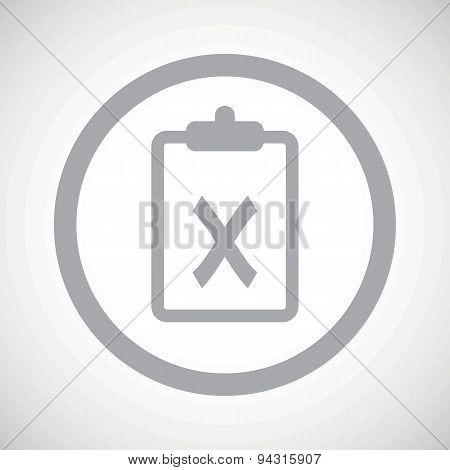 Grey clipboard NO sign icon