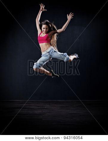 Young girl modern dancer (dark version)