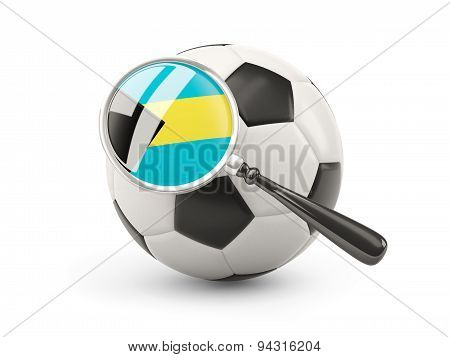 Football With Magnified Flag Of Bahamas