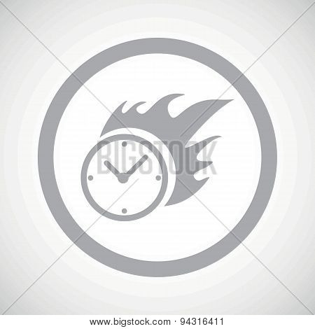 Grey burning clock sign icon