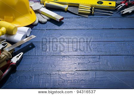 Carpenter Tools on Lightened Background
