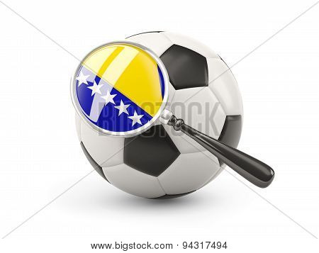 Football With Magnified Flag Of Bosnia And Herzegovina