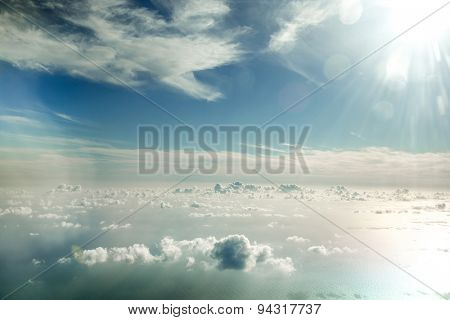 flying above the beautiful clouds in the sky