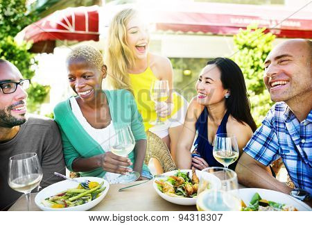 Diverse Summer Friends Fun Bonding Smart Phone Concept