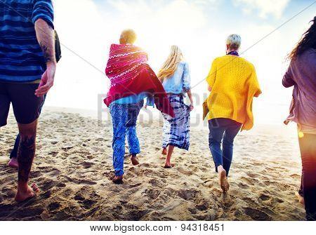 Friendship Bonding Relaxation Summer Beach Happiness Concept