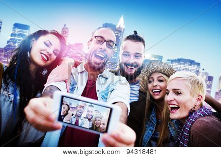 Diverse People Friends Fun Bonding Smart Phone Concept