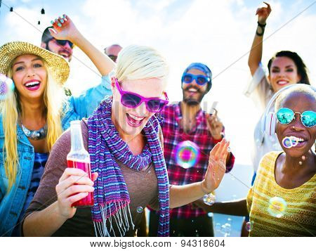 Dancing Beach Summer Happiness Joyful Concept