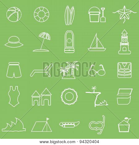 Beach Line Icons On Green Background