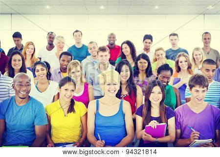 Group People Casual Learning Lecture Notes Cheerful Concept