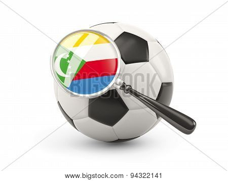 Football With Magnified Flag Of Comoros