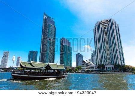 BANGKOK, THAILAND - CIRCA MAY 2014: Boat at Chao Phraya river in Bangkok, Thailand.